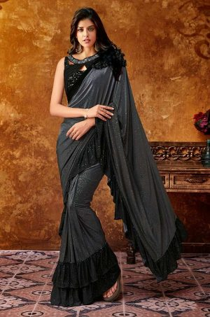 Party Wear Sarees With Designer Blouses & Border, Ready Plated- black & grey colour