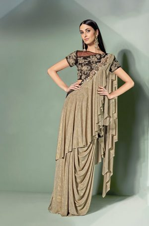 Party Wear Sarees With Designer Contrast Blouses- Ready Plated- brown & chiku colour