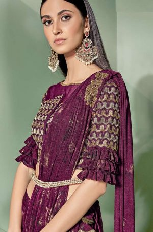 Party Wear Sarees With Designer Contrast Blouses- Ready Plated- wine colour