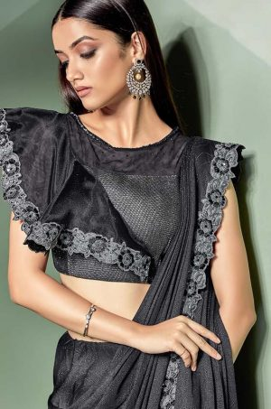 Party Wear Sarees With Designer Blouses- Ready Plated- black & silver colour