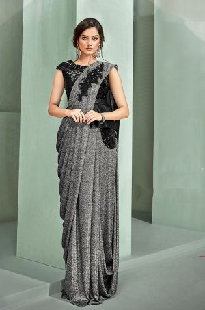 Party Wear Sarees With Designer Blouses- Ready Plated- black & grey colour