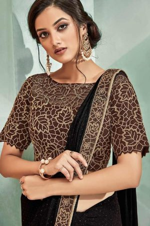 Party Wear Sarees With Designer Contrast Blouses- Ready Plated- brown colour