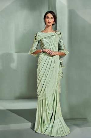 Party Wear Sarees With Designer Contrast Blouses- Ready Plated- pista green colour