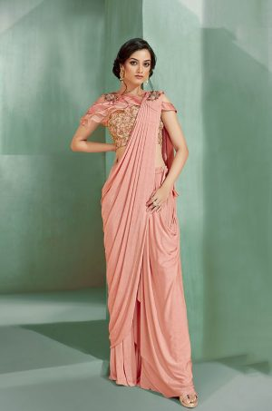 Party Wear Sarees With Designer Blouses & Border, Ready Plated- peach colour