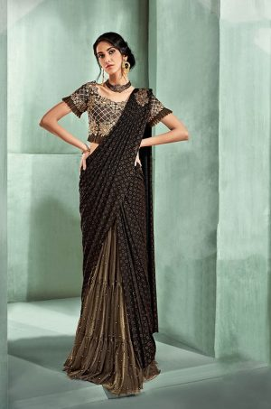 Party Wear Sarees With Designer Blouses- Ready Plated- brown & beige colour