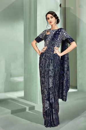 Party Wear Sarees With Designer Blouses- Ready Plated- blue colour