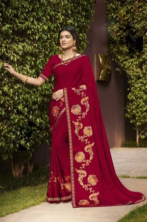 Laxmipati Red Brasso Saree