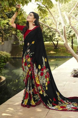 Laxmipati black Georgette Saree
