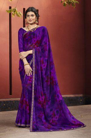 Laxmipati Purple Georgette Saree
