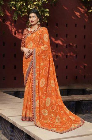 Laxmipati Orange Chiffon Saree