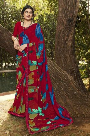 Laxmipati Red Georgette Saree
