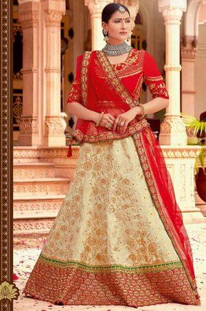 Traditional Ethnic Wear Lehengas Net,Silk & Jacquard Silk Fabrics- red & cream colour