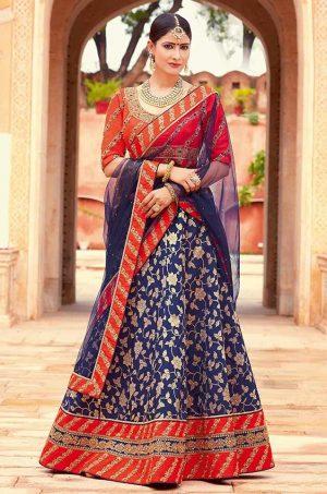 Traditional Ethnic Wear Lehengas Net,Silk & Jacquard Silk Fabrics- n.blue & orange colour