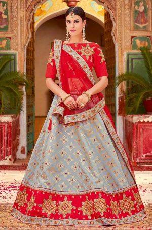 Traditional Ethnic Wear Lehengas Net,Silk & Jacquard Silk Fabrics- red & grey colour