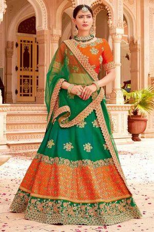 Traditional Ethnic Wear Lehengas Net,Silk & Jacquard Silk Fabrics- orange & green colour