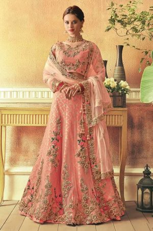 Traditional Wear Ethnic Lehengas,Silk,net & Velvet Fabrics- peach colour