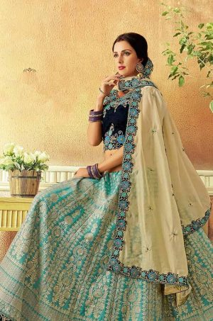 Traditional Wear Ethnic Lehengas,jaquard,weaved Silk & Velvet Fabrics- dark blue,light Blue & chiku colour