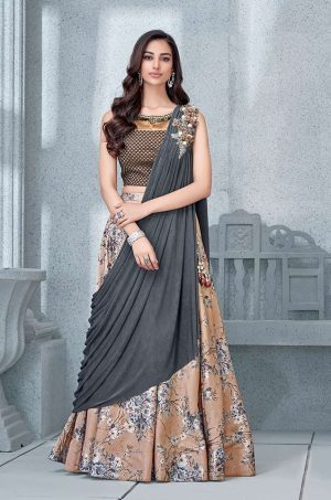 Party Wear Fusion style Lehengas- Grey,peach & Brown colour