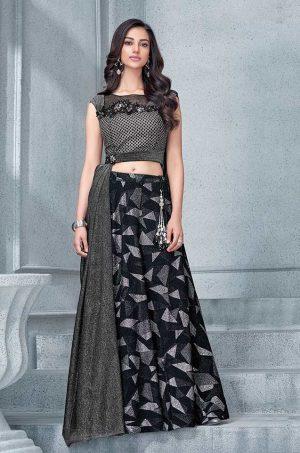 Party Wear Fusion style Lehengas- Black colour