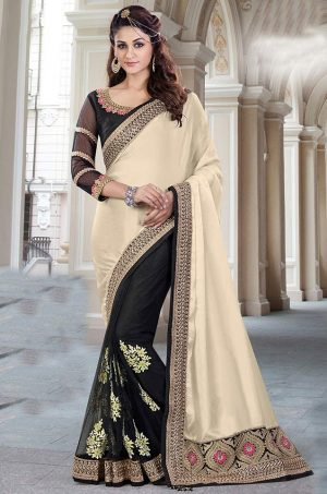 Traditional half n half Saree With contrast Blouse & Embellished Border- black & cream colour