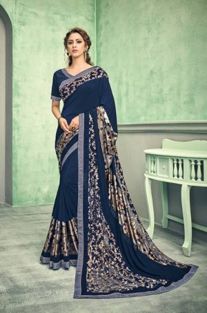 Party Wear desingner Sarees With Designer Blouses & embellished border – blue colour
