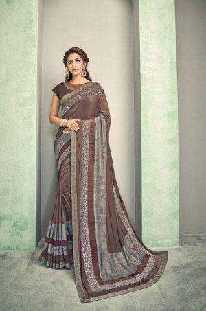 Party Wear desingner Sarees With Designer Blouses & embellished border – brown colour