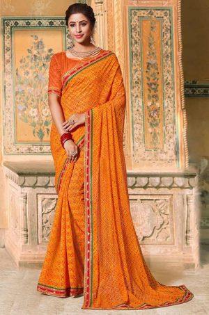Laxmipati Bandhani print golden Saree
