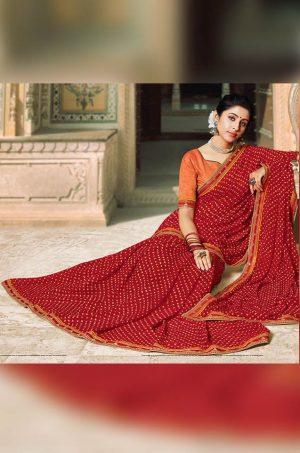 Laxmipati Bandhani print red Saree