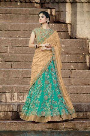 Traditional Lehengas silk & Net Fabrics- firoji & chiku colour
