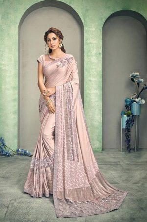 Party Wear desingner Sarees With Designer Blouses & embellished border – pink colour
