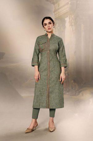 Laxmipati Cotton Base Fabric- Camouflage green colour Kurti