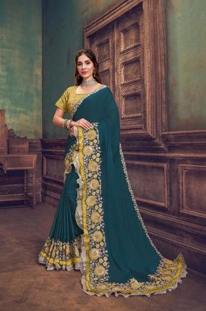Party Wear Sarees With Designer redy Blouses & border – teal blue & yellow colour