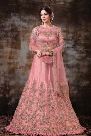 ethnic wear Lehengas satin Silk,Net & raw silk Fabrics- gajari colour