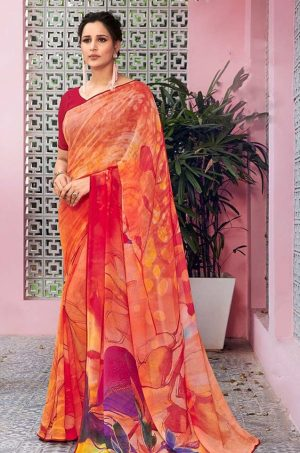 Laxmipati Georgette with digital print Multicolor Saree