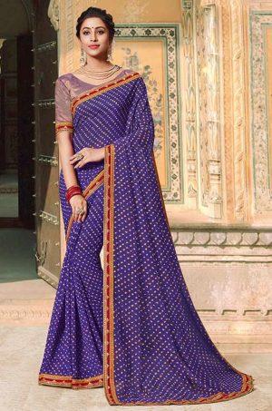 Laxmipati Bandhani print violet Saree