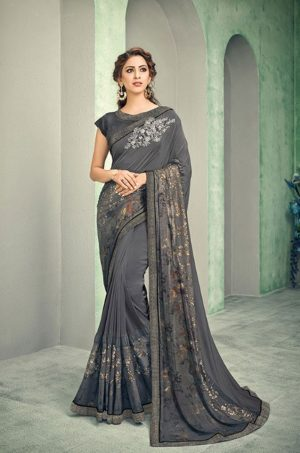 Party Wear desingner Sarees With Designer Blouses & embellished border – grey colour