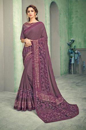 Party Wear desingner Sarees With Designer Blouses & embellished border – mauve colour