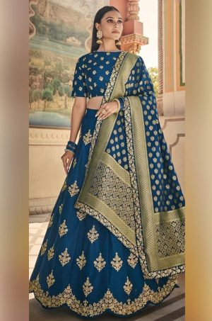 Best Traditional Wear Lehenga Satin Silk, Dola Jacquard, Viscose & Raw Silk Fabrics- Blue Colour