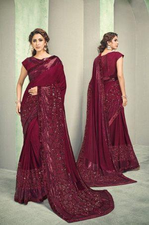 Party Wear desingner Sarees With Designer Blouses & embellished border – maroon colour