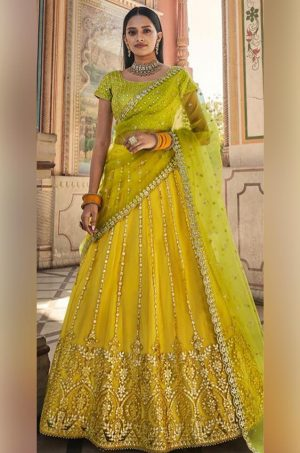 Crop top & skirt style Lehengas Net & raw silk Fabrics- Yellow & Green colour