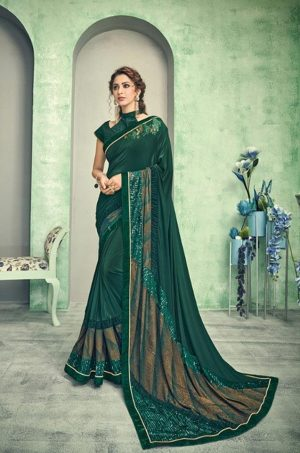 Party Wear desingner Sarees With Designer Blouses & embellished border – green colour