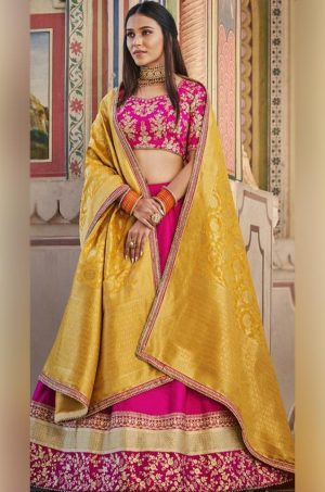 Best Lehenga for Party, Engagement & Reception – Satin Silk, Viscose & Raw Silk Fabrics- Rani & Yellow Colour