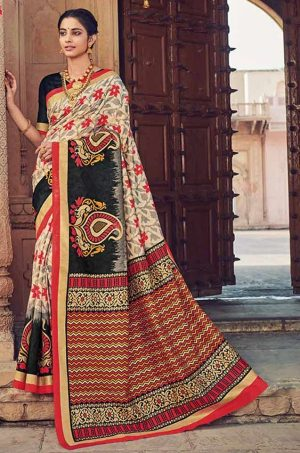 Traditional wear cotton silk fency & embellished printed multicolour saree