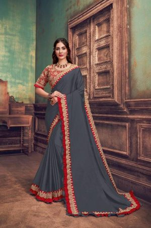 Party Wear Sarees With Designer redy Blouses & border – red & grey colour