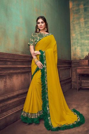 Party Wear Sarees With Designer redy Blouses & border – musterd yellow & green colour