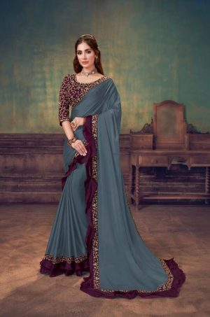 Party Wear Sarees With Designer redy Blouses & border – blue grey & wine colour