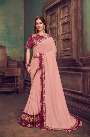 Party Wear Sarees With Designer redy Blouses & border – peach & deep pink colour