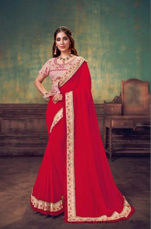 Party Wear Sarees With Designer redy Blouses & border – pink & red colour