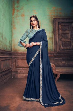 Party Wear Sarees With Designer redy Blouses & border – royal blue & blue colour