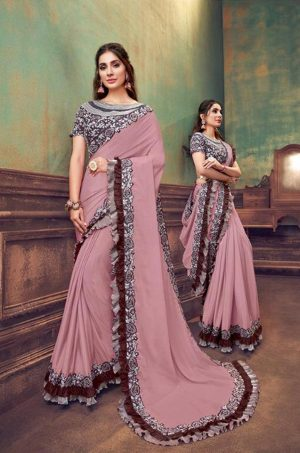 Party Wear Sarees With Designer redy Blouses & border – onion pink & wine colour